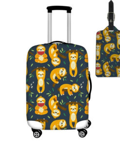 Lazy Sloth Suitcase Cover with Tag